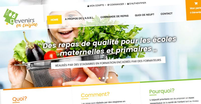 Devenirs en cuisine : capture d'écran du site (devenirsencuisine.be)